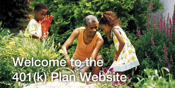 Sunrise login image: Woman with two children in garden text: Welcome to the 401(k) Plan Website